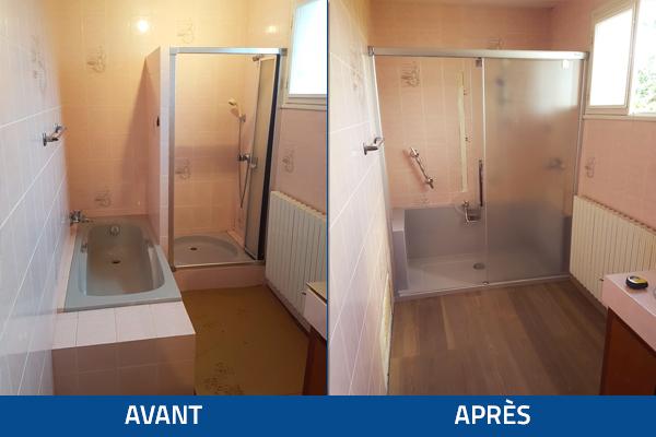 Photo avant et parès d'une rénovation de salle de bain